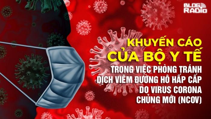 Những khuyến cáo của Bộ Y tế trong việc phòng tránh dịch viêm đường hô hấp cấp do virus Corona chủng mới (nCoV)