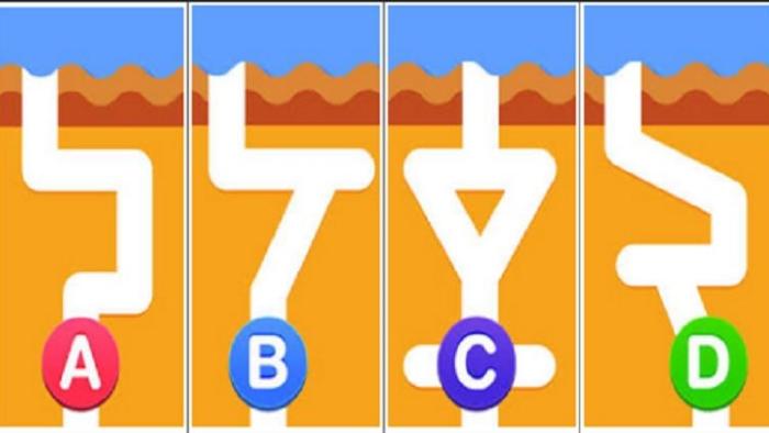 Đoán xem nước chảy xuống ống nào nhanh nhất? Câu trả lời sẽ tiết lộ bạn là thiên tài trong lĩnh vực nào
